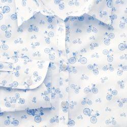 Женская рубашка белая с рисунком Charles Tyrwhitt приталенная Fitted (WE092BLU)
