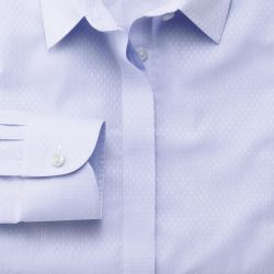 Женская рубашка лилово-фиолетовая с белым рисунком Charles Tyrwhitt не мнущаяся Non Iron приталенная Fitted (WR079BLU)