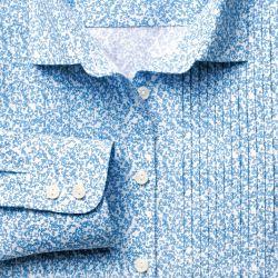 Женская рубашка белая с синим узором Charles Tyrwhitt приталенная Fitted (WA078SKY)