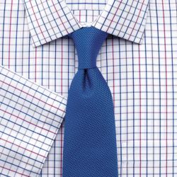 Мужская рубашка с коротким рукавом белая в красно-синюю клетку Charles Tyrwhitt не мнущаяся Non Iron приталенная Slim Fit (FH024MLT)