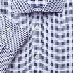 Мужская рубашка синяя в мелкую белую звездочку Charles Tyrwhitt приталенная Slim Fit (FE250NAV)